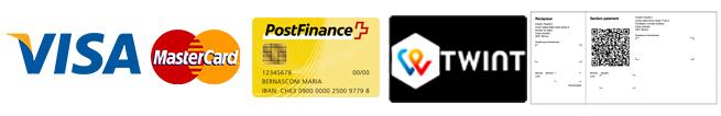 Paiement par Visa, Mastercard, PostFinance, Bulletin de versment
